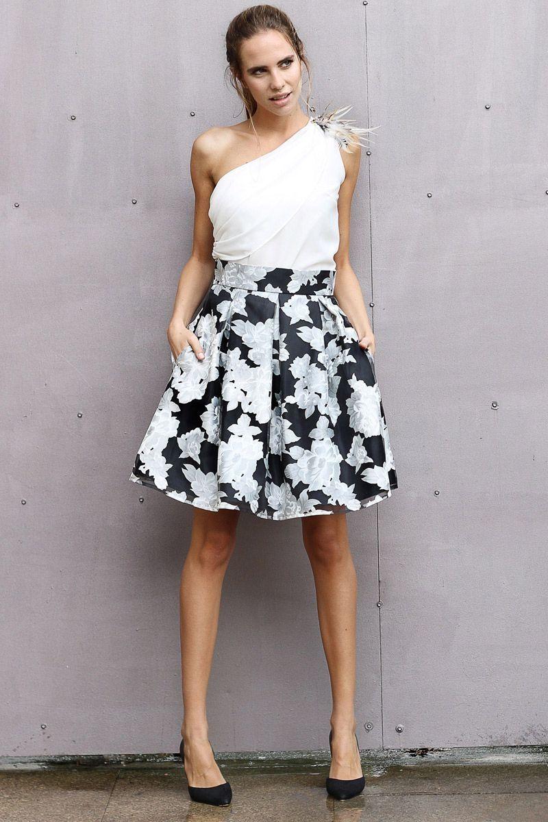 97244b407 faldas de vuelo midi con estampado de flores para fiesta boda evento ...