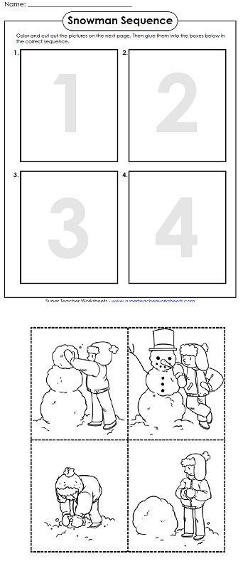 A Printable Worksheet For Winter Winter Math Activities Winter Kindergarten Winter Math Snowman sequencing worksheet free