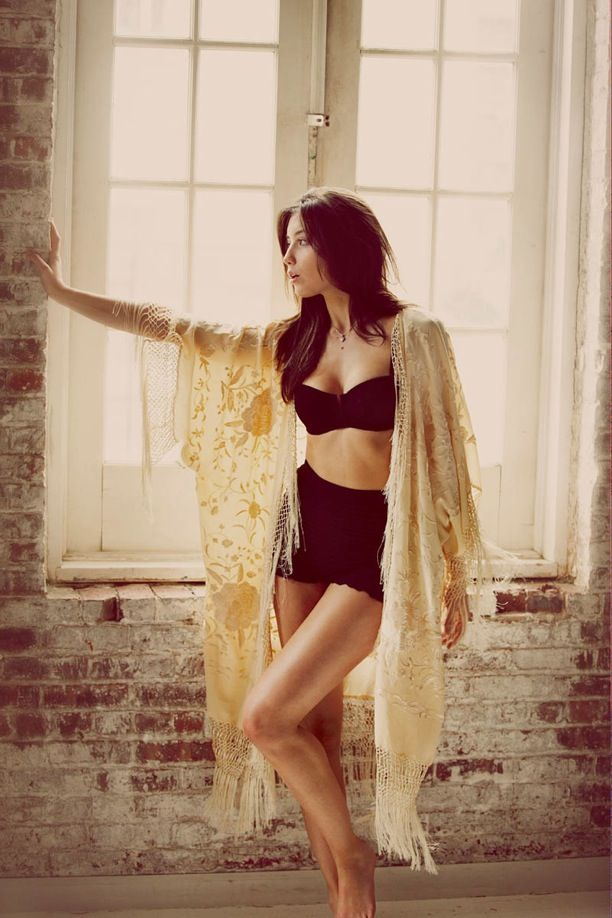 Daisy Lowe The face of Free People Intimates collection Guy Aroch Neighbor Video beautiful basics lacy bits unmentionables high waist briefs underwear black bustier bra yellow lace slip jacket shawl