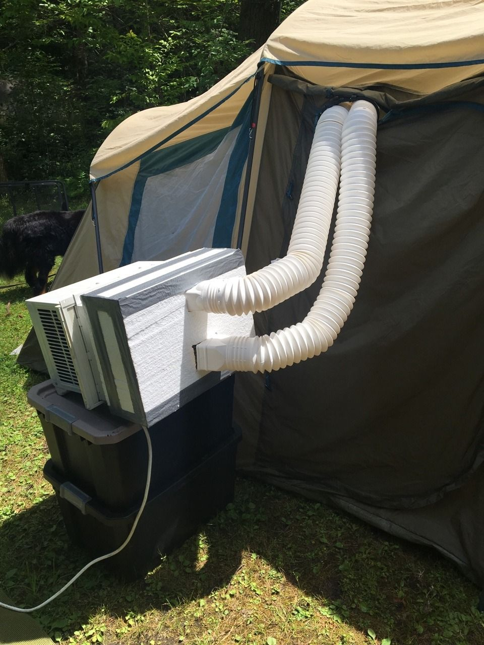 I used a window air conditioner in our tent while camping