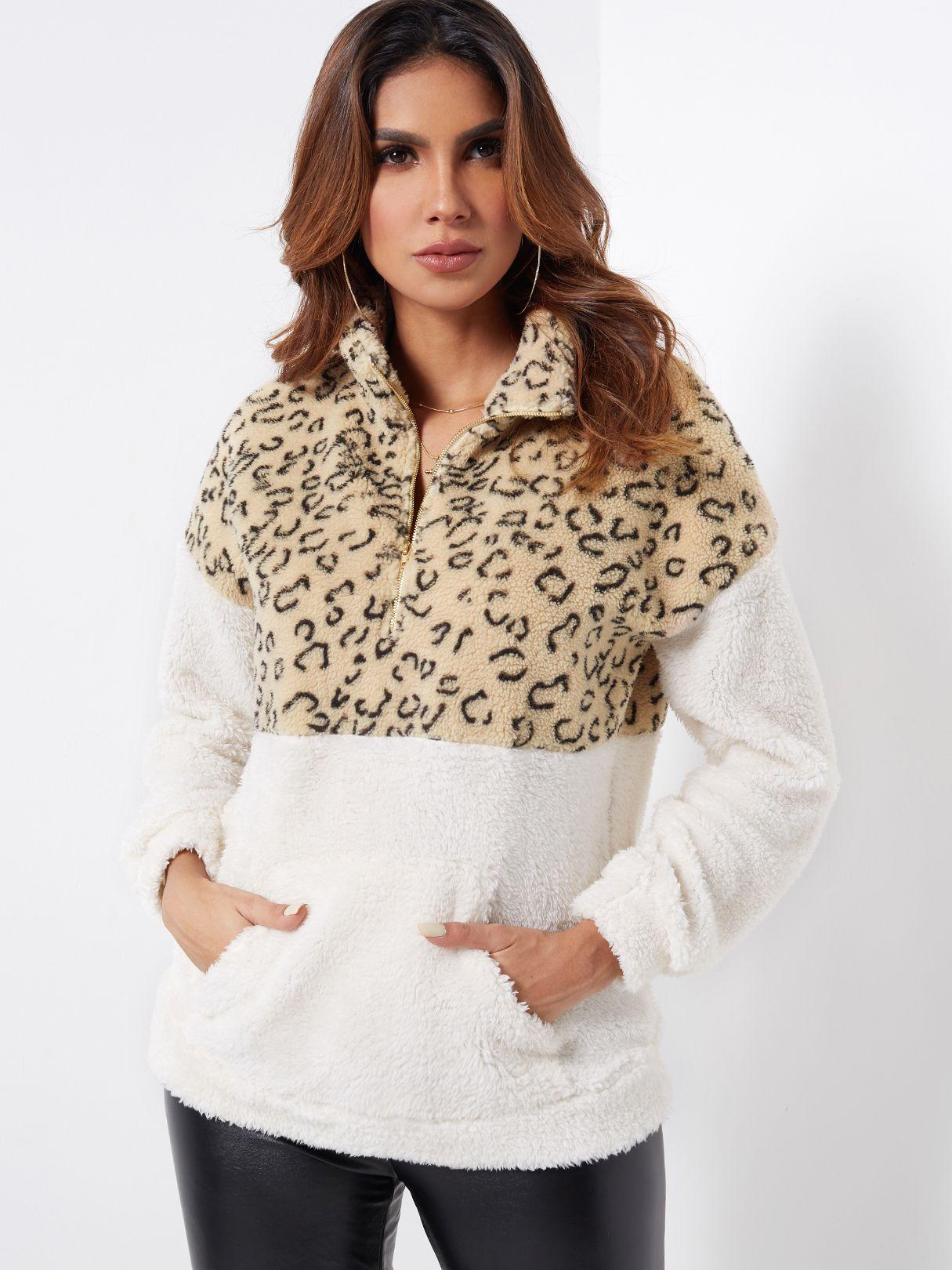 Color Block Zipper Front Leopard Chimney Collar Long Sleeves Fluffy Sweatshirts Color Block Zipper Front Leopard Chimney Collar Long Sleeves Fluffy Sweatshirts,