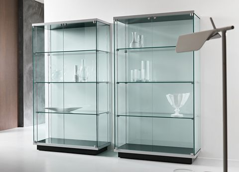 Tonelli Broadway One Glass Cabinet Modern Room Decor Glass Furniture Glass Shelving Unit