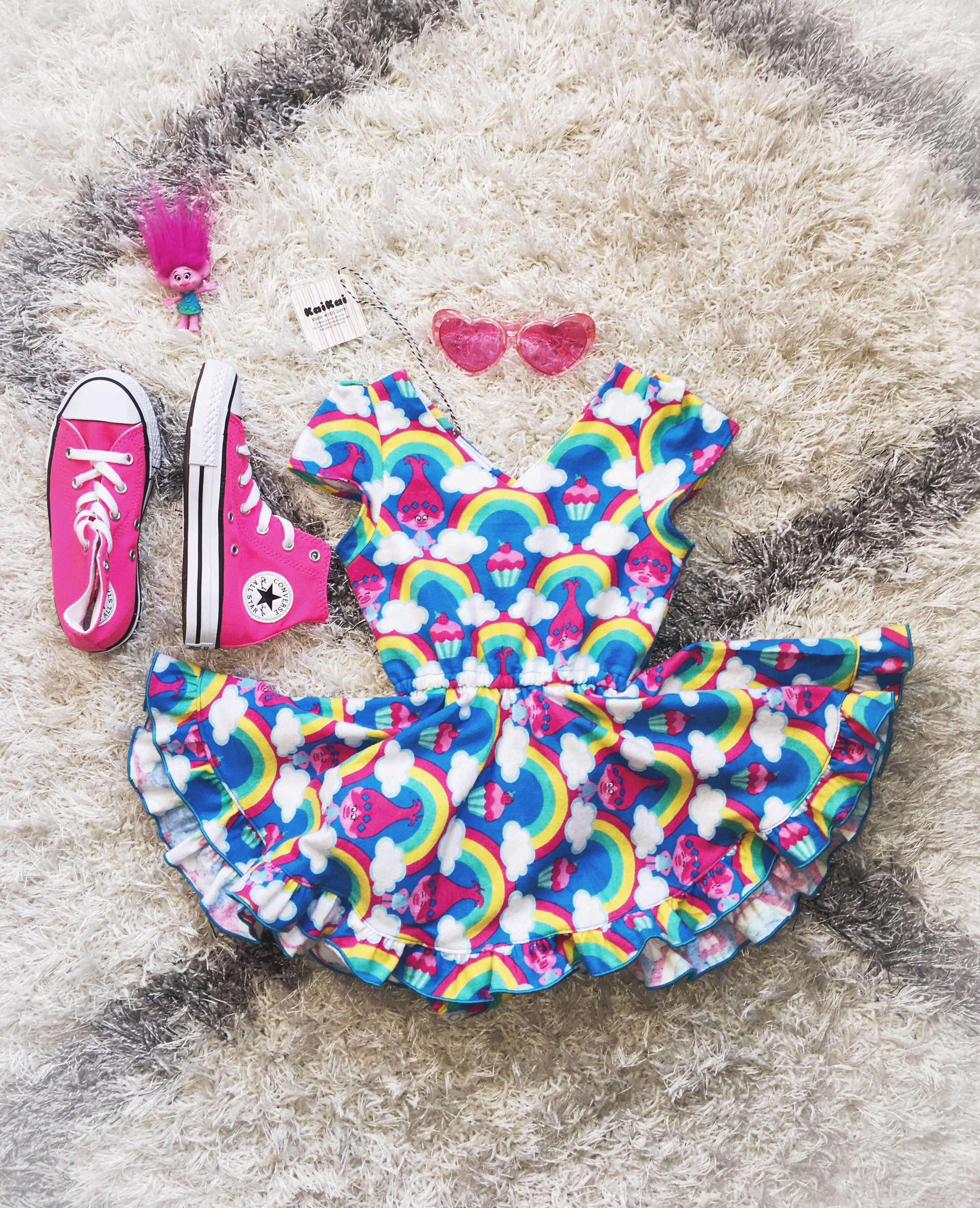 8c3317f7ed Cute trolls dress | little girls clothes in 2019 | Trolls birthday ...