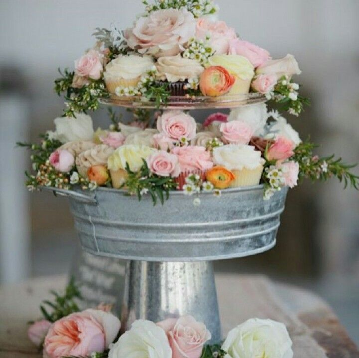 Wedding Cupcake Stand Ideas: Galvanized Tub Flower/cupcake Display. For More Amazing