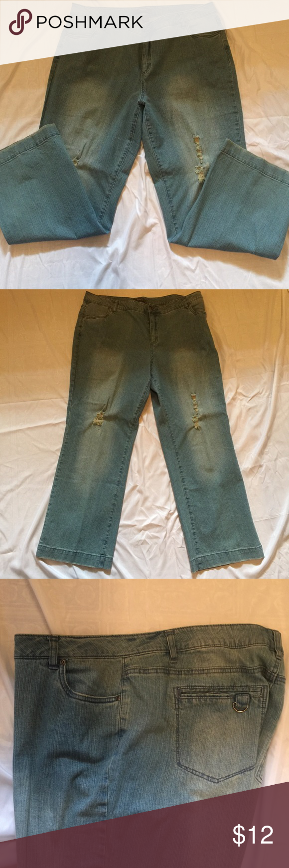 ✔️Plus Size Distressed Redoute Creation Jeans ✔️Like New Preowned Jeans✔️Plus Size ✔️Never worn these jeans✔️Size 18W✔️Never worn - I bought two pair of these jeans (18w and 20w) I only wore the size 20W✔️Brand - Redoute Creation✔️Distressed look Redoute Creation Jeans