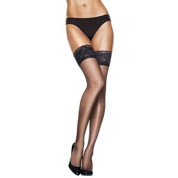 Lace Top Thigh Highs Stockings Hanes Silk Reflections Women/'s Stretch Wicking