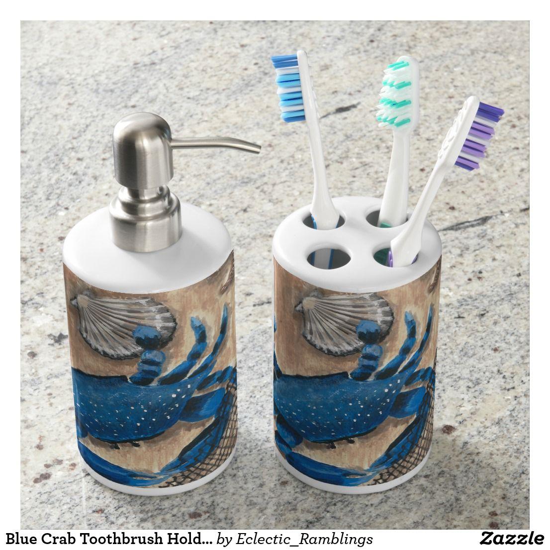 Blue Crab Toothbrush Holder Set | Bath Accessory Sets | Pinterest ...