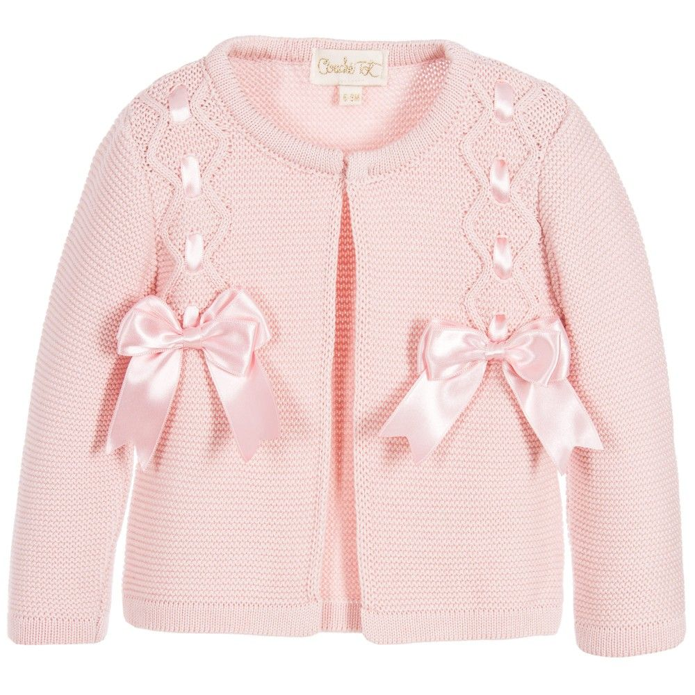 e187d8986 Couche Tot Baby Girls Pink Knitted Cardigan with Satin Ribbon Bows ...