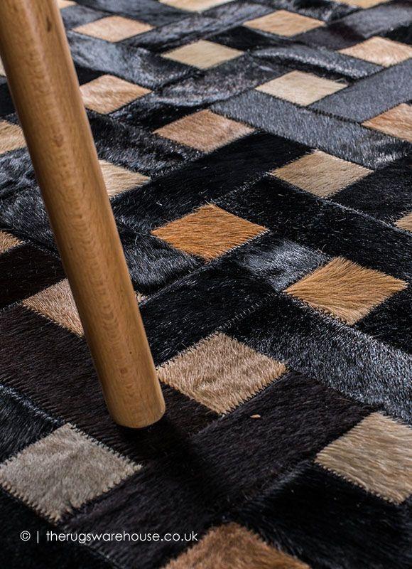 Dark Weave Rug Mosaic Rugs Beige Cowhide Rug Patchwork Leather Rugs