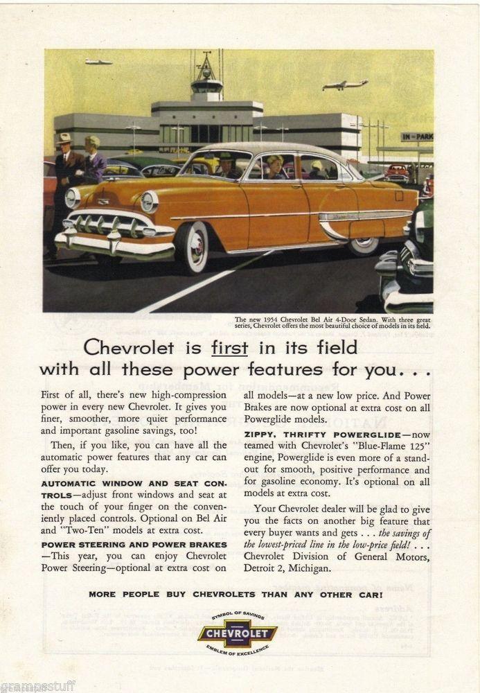 1954 Chevrolet Bel Air 4 Door Sedan Ad Gm Powerglide Blue Flame