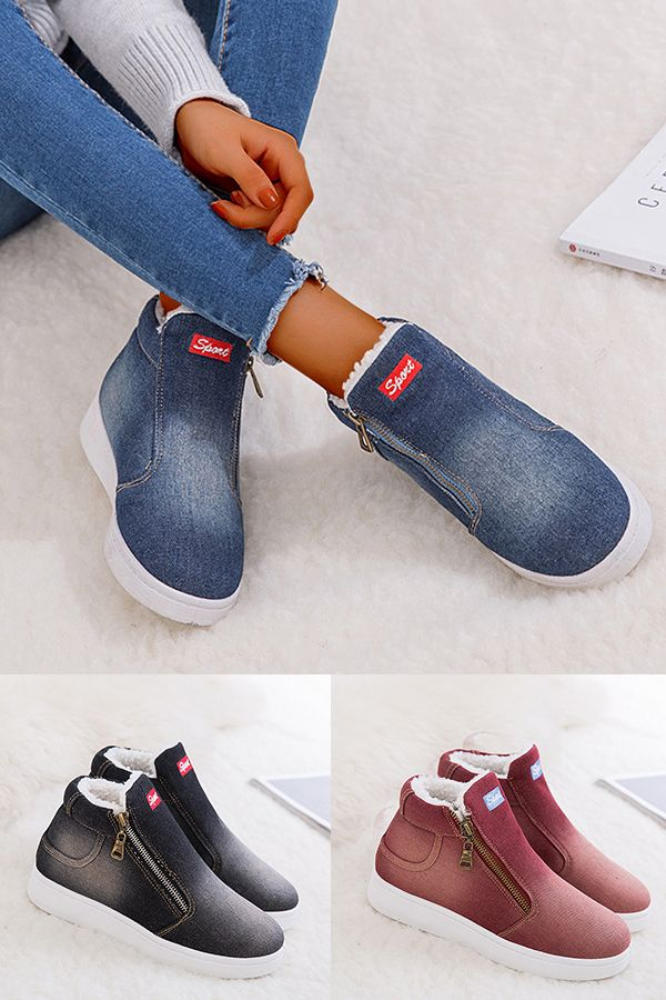 Women Daily Casual Flat Heel Zipper Warm Snow Boots | Ankle