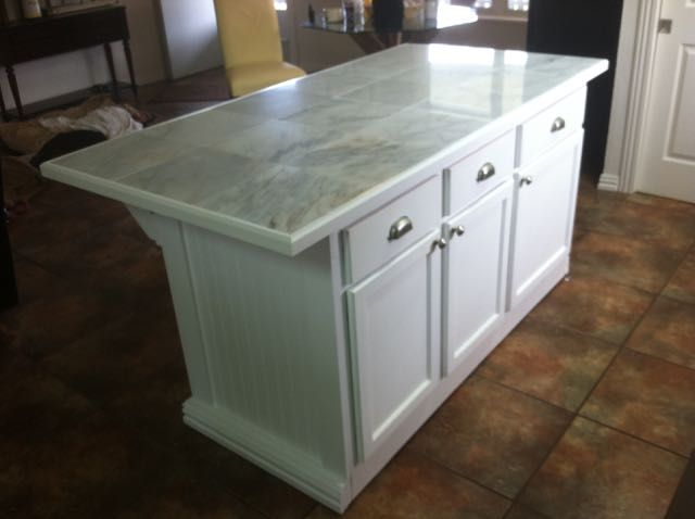 Marble Tile Top Kitchen Island From Repurposed Cabinets Kitchen Tops Home Decor Kitchen