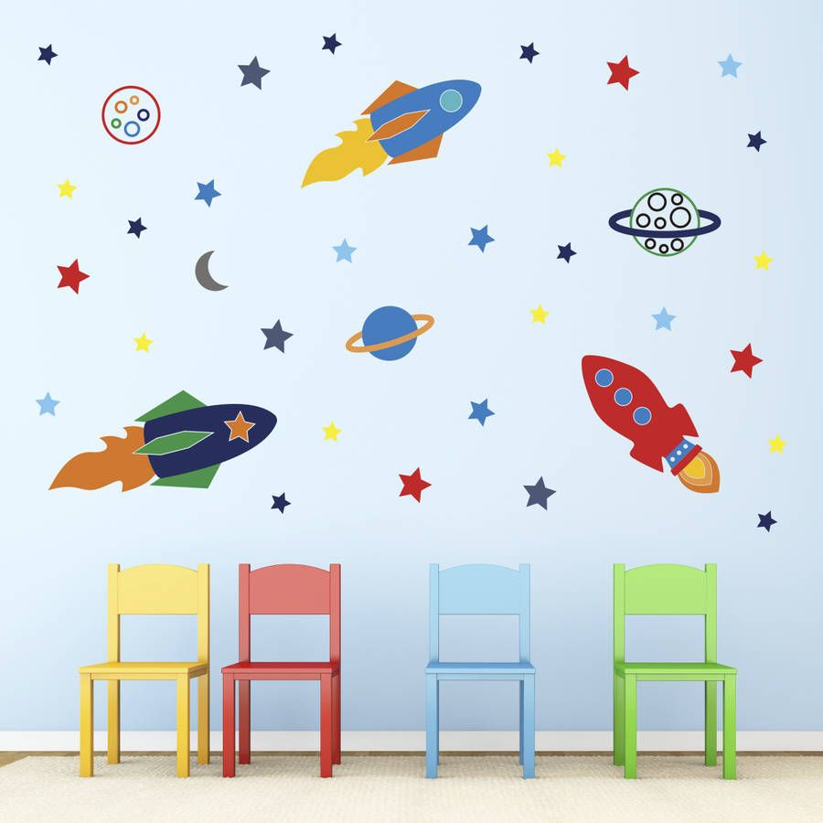 Space Rockets Wall Stickers Wall Stickers Space Wall Stickers