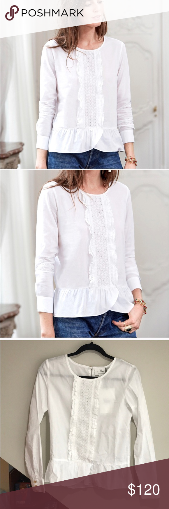 862aaf2b9bd01c Sezane Diana Blouse NWT and sold out, price is firm! This crisp white blouse