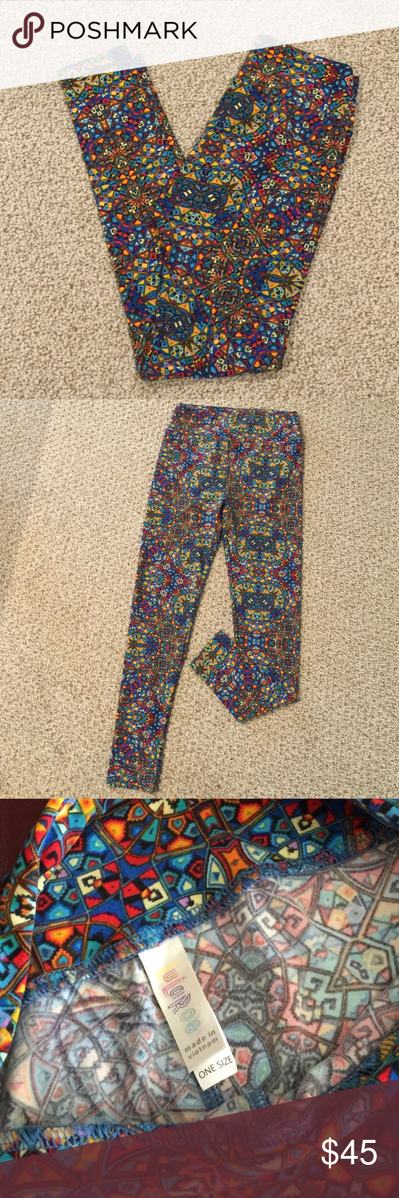 LuLaRoe Multi Colored Print Unicorn O S Leggings Buttery Soft With A Gorgeous