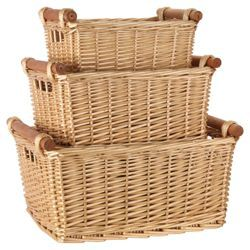 Check Out Tesco Wicker Baskets With Wood Handles Honey Colour