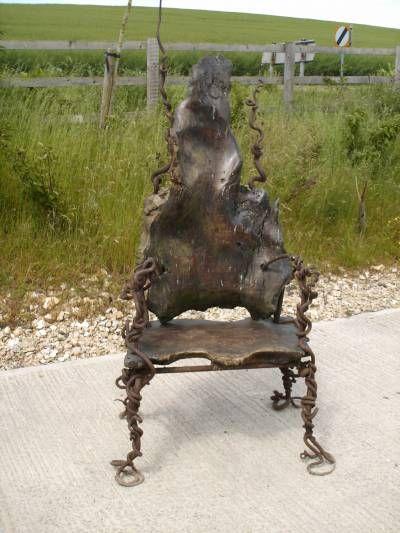 A Wrought Iron Folk Art Chair