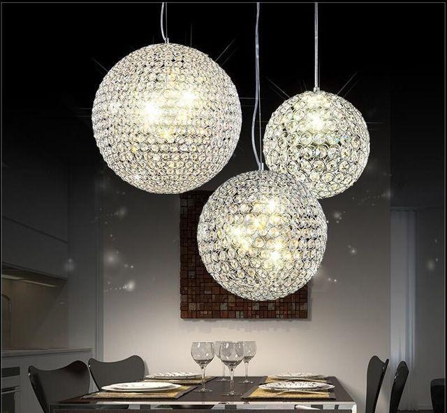 Modern Circular Living Room Dining Room Led Chandelier K9 Crystal Round Ball Lighting Ac110 260v Led Living Room Lighting Lamps Living Room Bar Light Fixtures