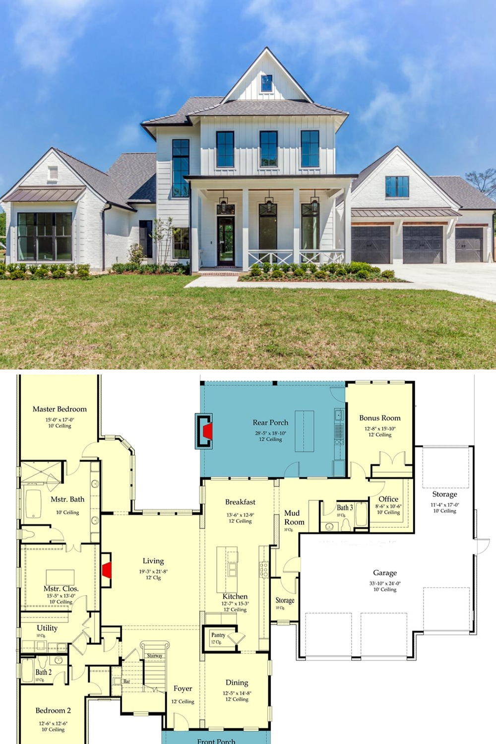 Two Story 5 Bedroom Southern Home With Rustic Interior Elements Floor Plan Mansion Floor Plan Southern House Plan Southern House Plans