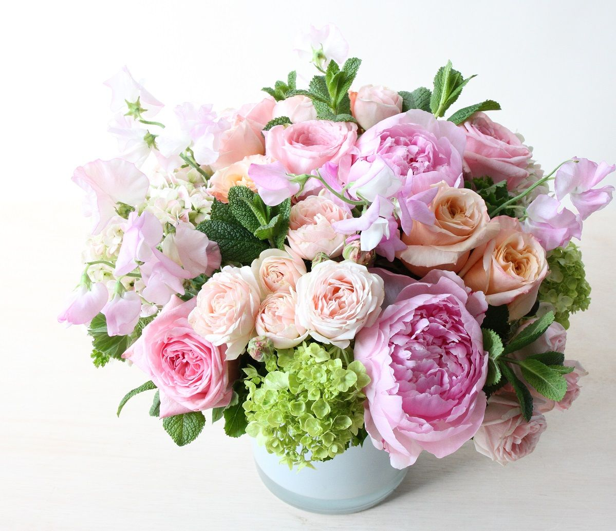 Pale Pink Peonies And Blushing Italian Sweet Pea: U0027Peony Rose Classicu0027 By  Winston