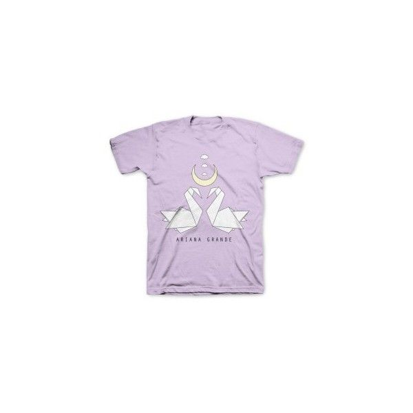 Ariana Grande Ariana Grande Origami Cranes T-Shirt (€37) ❤ liked on Polyvore featuring tops, t-shirts, shirts, purple tee, purple t shirt, purple top, origami t shirt and shirts & tops