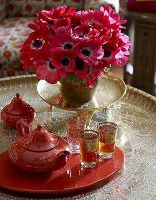 Pink Anemone with Moroccan Tea Glasses