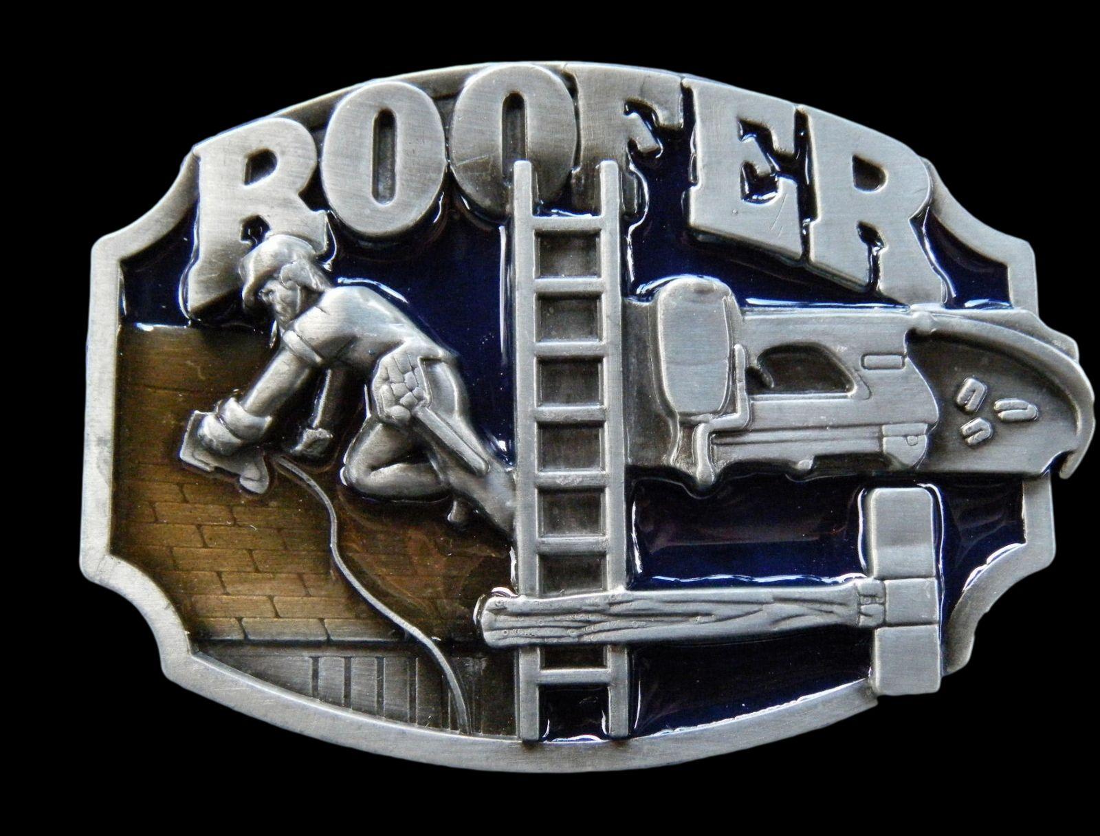 ROOFER CONSTRUCTION WORKERS TOOLS EQUIPMENT BELT BUCKLE