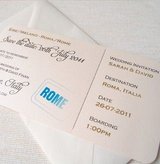 Boarding Pass save the date invitation