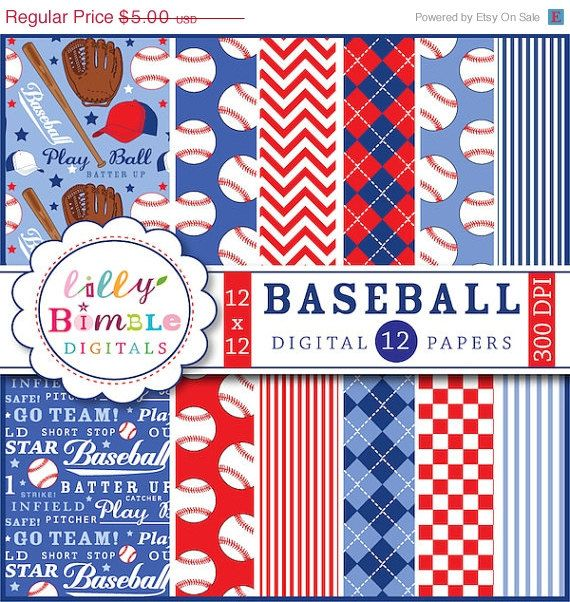 50 Off Baseball Digital Papers Scrapbooking By Lillybimble Craft