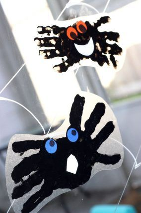 Make a spider handprint window cling with with the kids! Such a cute - halloween window clings