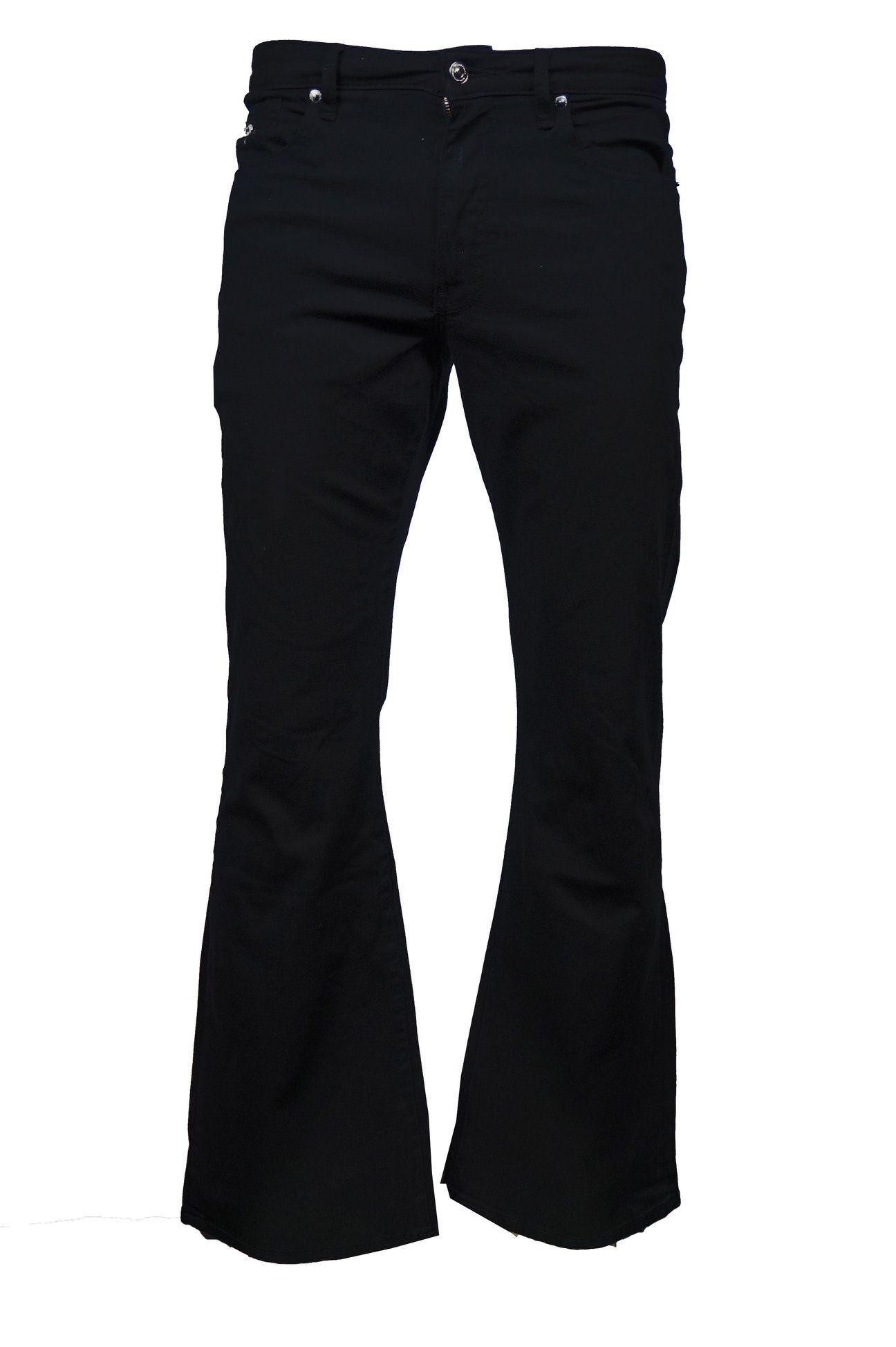 Run /& Fly Mens 60s 70s Vintage Black Stretch Denim Slim Bootcut Jeans