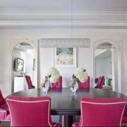 An inspiration post of pinks used as an accent against grey and neutrals, in soft furnishings, accessories or florals.