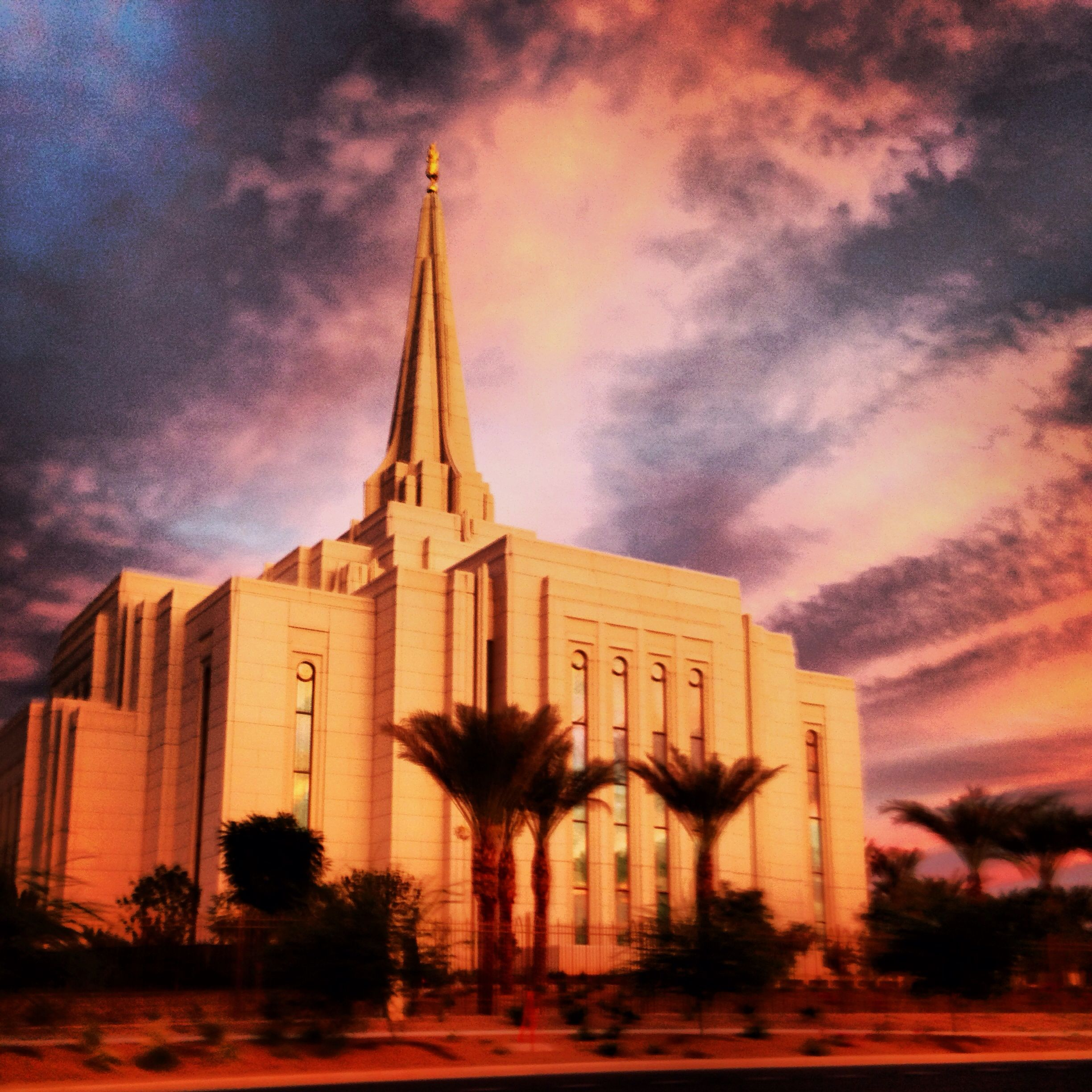 Gilbert LDS temple today while driving.