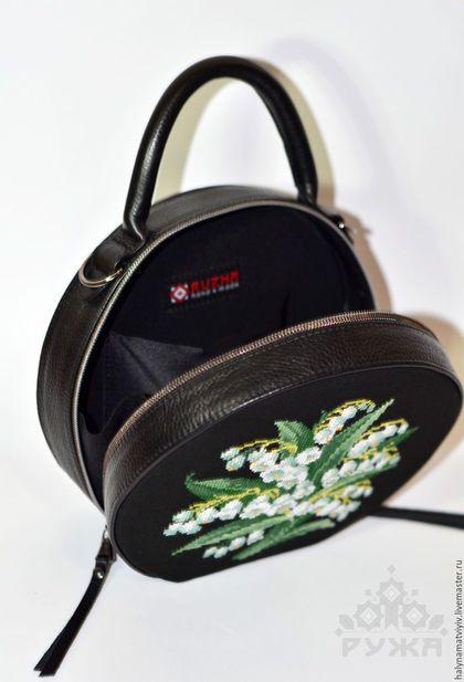 3cdd8003bf2a Купить или заказать Круглая сумка 'Ландыши' в интернет-магазине на Ярмарке  Мастеров.