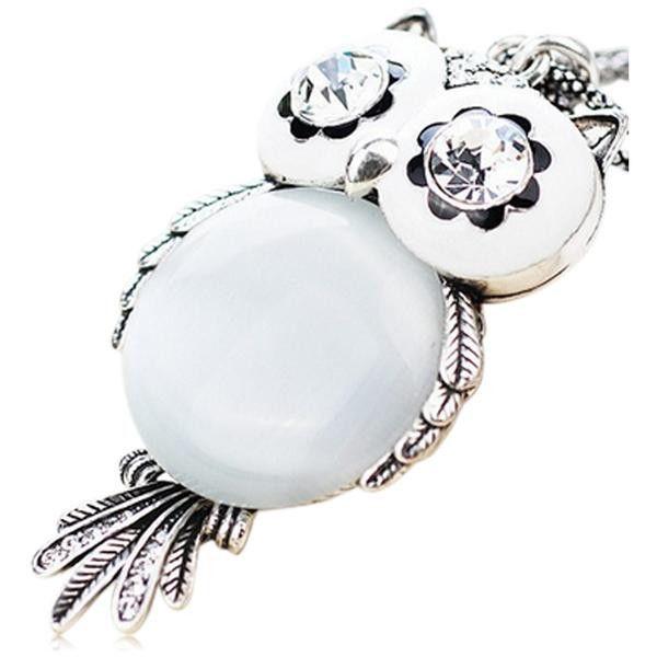 Gufo - Owl CZ Diamond Gold Long Chain Necklace
