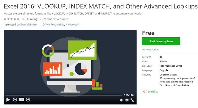 Coupon Udemy - Excel 2016: VLOOKUP, INDEX MATCH, and Other