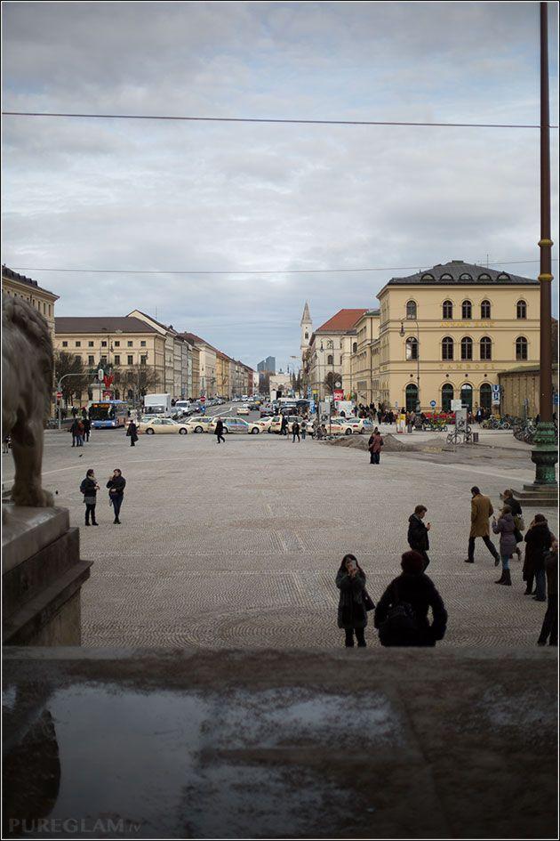 Odeonsplatz looking to Ludwig Strasse (Siegestor) - view from Feldherrnhalle - Munich/ München, Germany/Deutschland