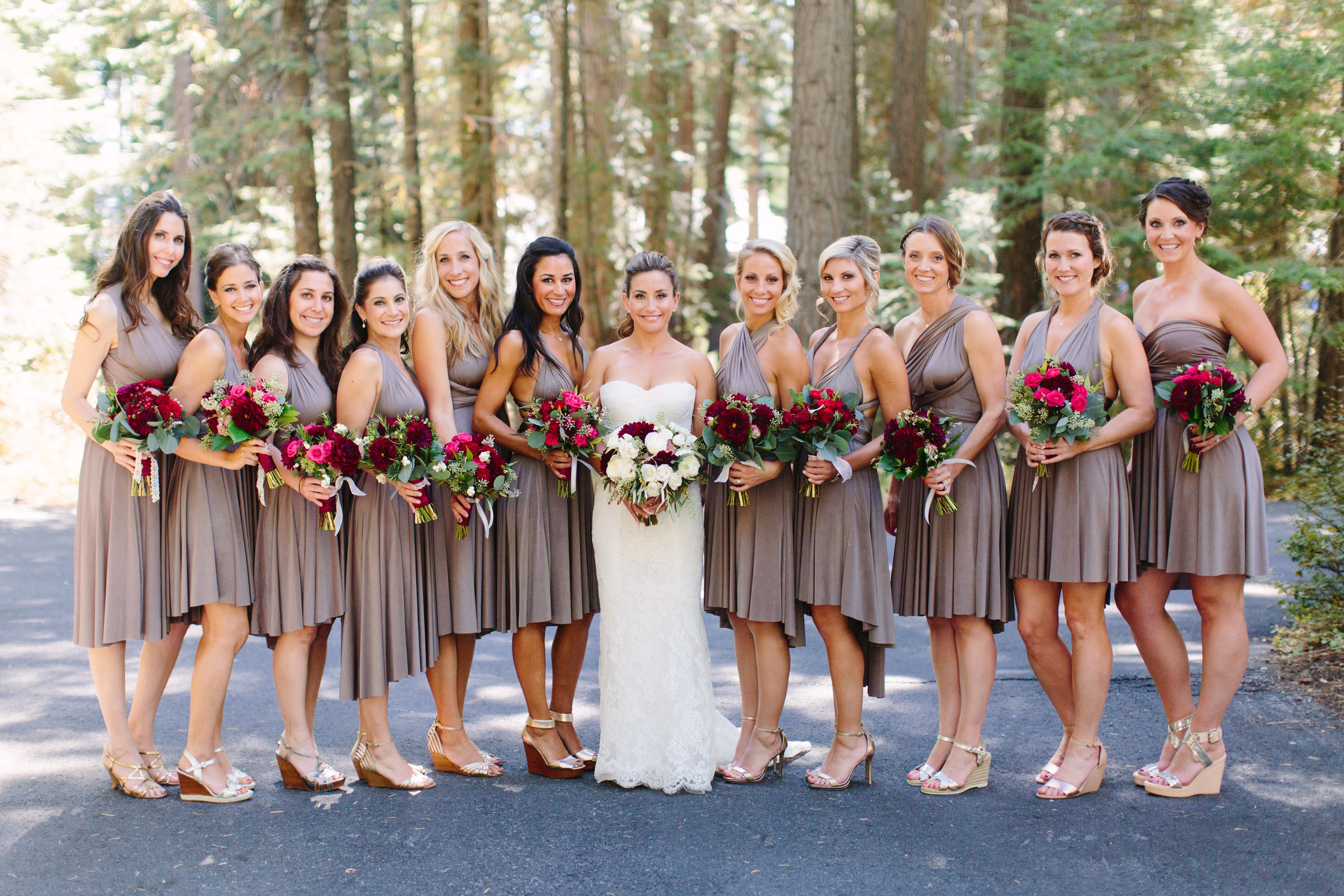 All 12 bridesmaids wore mocha colored dresses that fell right all 12 bridesmaids wore mocha colored dresses that fell right above the knee but ombrellifo Choice Image