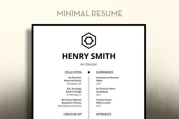 Nice Minimal Resume  Creativework  Fonts Graphics Themes