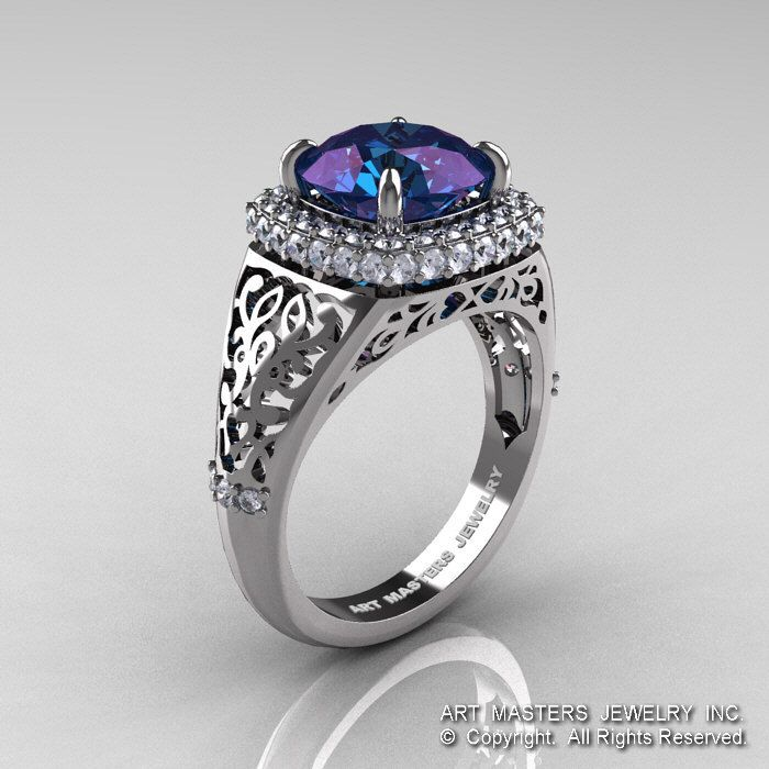 High Fashion 14K White Gold 3.0 Ct Color Change Alexandrite Diamond Designer Wedding Ring R407-14KWGDAL by DesignMasters on Etsy https://www.etsy.com/listing/166985810/high-fashion-14k-white-gold-30-ct-color