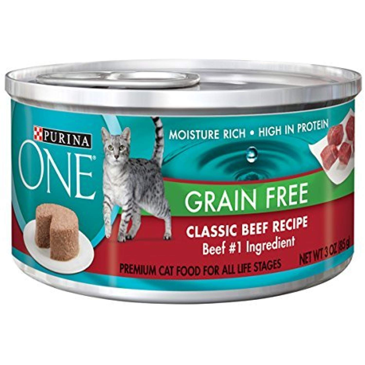 Purina ONE Grain Free Formula Wet Cat Food, Premium Pate