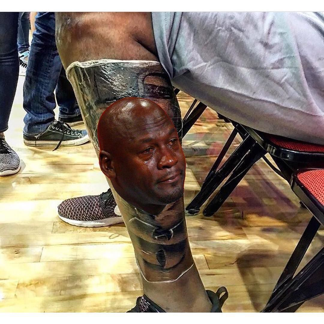 861cef46bf90 Kevin Durant tattooed Tupac s entire dang face on his leg. Kevin Durant s  new tattoo.  cryingjordanface  kevindurant  tatoo  dubnation  cryingjordan