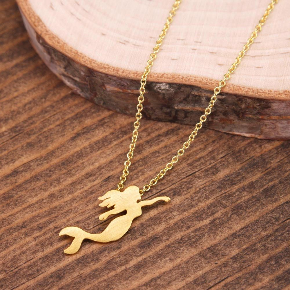 Mermaid Brass Necklace Ocean Necklace Beach Necklace Small Petite Minimalist Jewelry BN278-G by LaurenSpencerJewelry on Etsy