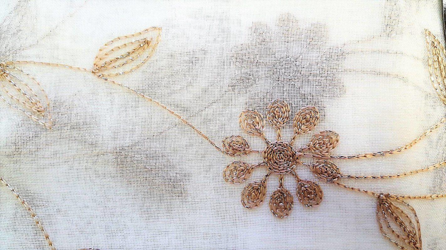 91f15b9dad4 Mirtha Metallic Daisy Embroidered Sheer Fabric Shower Curtain ...