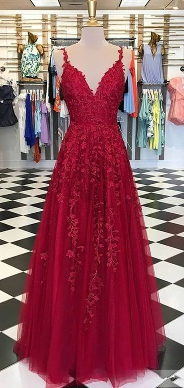 Popular Lace Long Prom Dresses, V-neck Prom Dresses, A-line Prom Dresses from Clairebridal#aline #clairebridal #dresses #lace #long #popular #prom #vneck