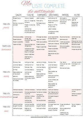 Turbo liste complete pour organiser son menage | organisation  OZ93