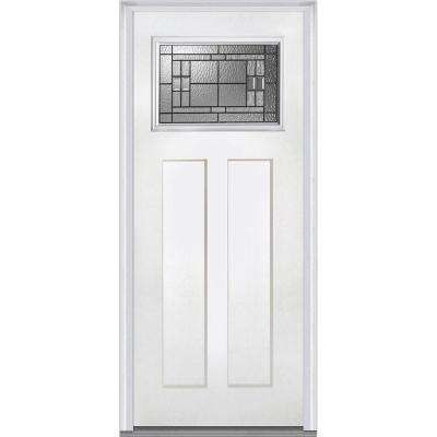 37 5 In X 81 75 In Roman Decorative Glass Craftsman 1 4 Lite 2 Panel Primed Fiberglass Smooth Exterior Door Exterior Doors Tall Cabinet Storage Metal Buildings