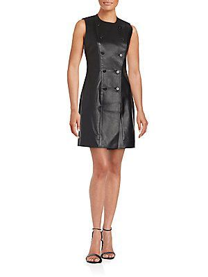 Balenciaga Sailor Solid Leather Dress - Noir - Size