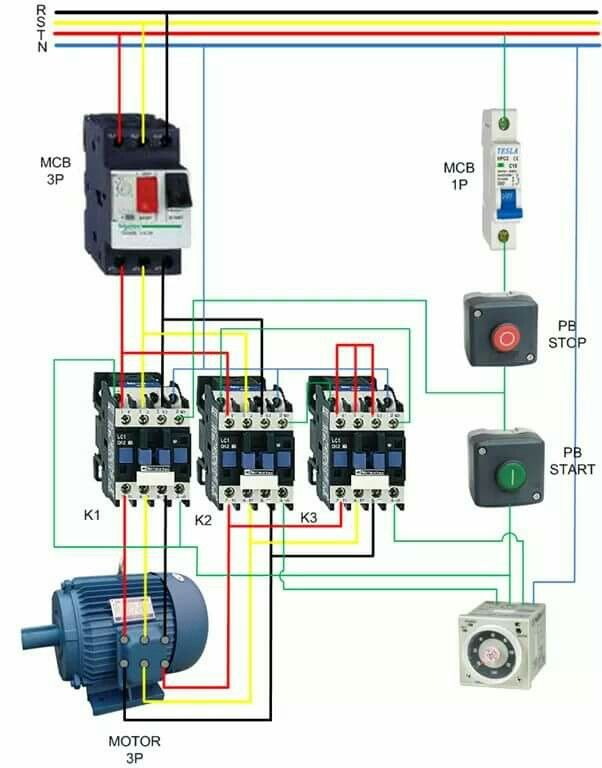 Contactor wiring guide for 3 phase motor with circuit breaker contactor wiring guide for 3 phase motor with circuit breaker overload relay nc no switches electrical tutorials pinterest circuits asfbconference2016 Images