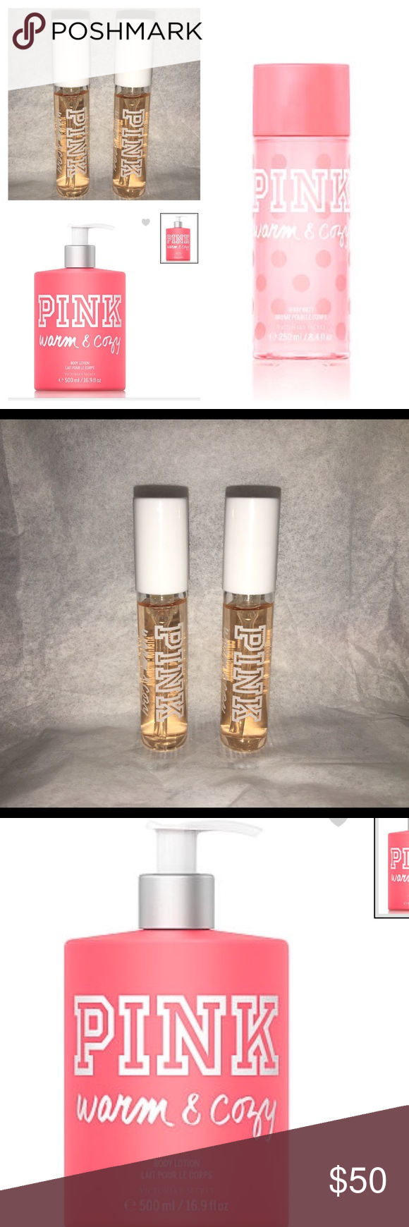VS PINK Warm & Cozy Mist Lotion 2 travel EDT's NEW Victoria's Secret PINK --- Warm & Cozy 4 piece gift set - full and travel size  - 8.4 oz Body fragrance mist - 16.9 oz large body lotion with pump - 2 travel Eau De Toilette sprays 0.9 oz each  New and never used Smoke free home This closet does not trade PINK Victoria's Secret Makeup